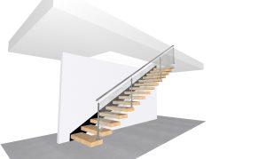 schody półkowe projekt 3D do ściany
